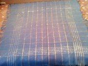 Платок новый небесно-голубой с люрексом и бахромой